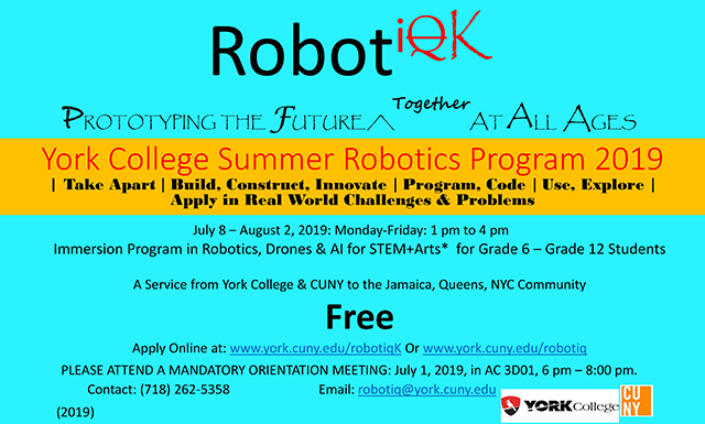 York College Free Summer Robotics Program 2019 – Stephen A